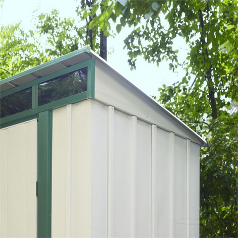 "Image of Arrow ELPHD84 Euro-Lite™, 8x4, Hot Dipped Galvanized Steel, Meadow Green / Eggshell, Pent Gable, 71.3"" Wall Height, Swing Doors"