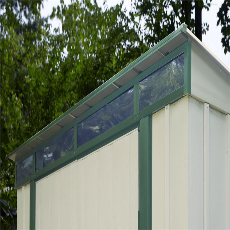 "Arrow ELPHD84 Euro-Lite™, 8x4, Hot Dipped Galvanized Steel, Meadow Green / Eggshell, Pent Gable, 71.3"" Wall Height, Swing Doors"