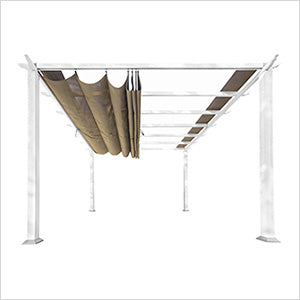 Paragon Outdoor Florence 11x11 White Aluminum Pergola/Sand Color Convertible Canopy