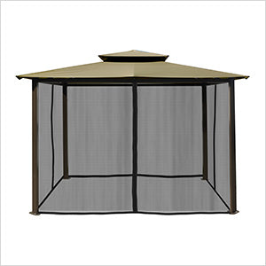 Image of Paragon Outdoor Barcelona 10x12 Gazebo with Sand Top, Mosquito Netting, Privacy Curtains