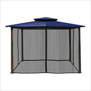 Image of Paragon Outdoor Barcelona 10x12 Gazebo with Navy Top & Mosquito Netting