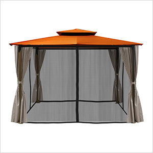 Image of Paragon Outdoor Barcelona 10x12 Gazebo with Rust Top, Mosquito Netting, Privacy Curtains