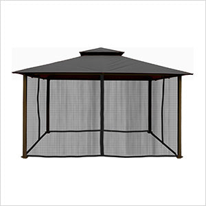 Image of Paragon Outdoor Kingsbury 11x14 Gazebo with Grey Top & Mosquito Netting