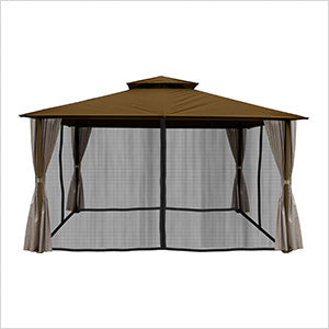 Image of Paragon Outdoor Kingsbury 11x14 Gazebo with Cocoa Top, Mosquito Netting, Privacy Curtains