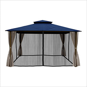 Image of Paragon Outdoor Kingsbury 11x14 Gazebo with Navy Top, Mosquito Netting, Privacy Curtains