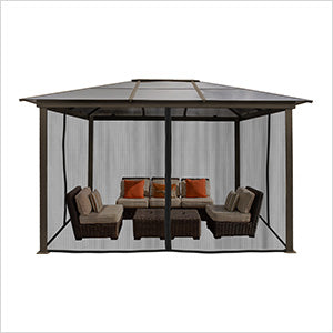 Paragon Outdoor Madrid 10x13 Hard Top Gazebo with Mosquito Netting