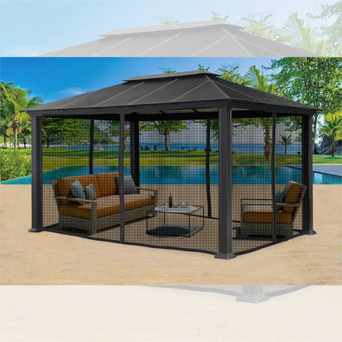 Paragon Outdoor Santa Monica 11x16 Hard Top Gazebo with Mosquito Netting