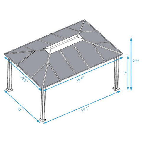 Paragon Outdoor Santa Monica 11x16 Hard Top Gazebo