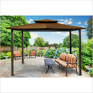 Image of Paragon Outdoor Barcelona 10x12 Gazebo with Coca Top & Mosquito Netting