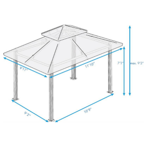 Paragon Outdoor Barcelona 10x12 Gazebo with Navy Top