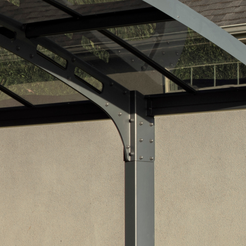 Palram Arizona Breeze Double Wing-Style Carport Kit - Bronze, 2mm Thick Solid Polycarbonate Roof Panels - HG9102