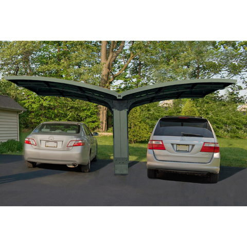Image of Palram HG9102 Arizona Breeze Double Wing-Style Carport Kit - Bronze, 2mm Thick Solid Polycarbonate Roof Panels