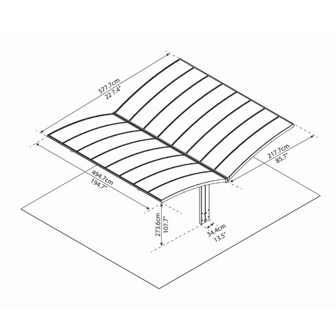 Image of Palram Arizona Breeze Double Wing-Style Carport Kit - Bronze, 2mm Thick Solid Polycarbonate Roof Panels - HG9102