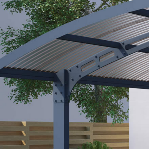 Image of Palram Arizona Double Carport, Palram HG9103 19'W x 16'L x 9'H Arizona Wave Double Arch-Style Carport Kit