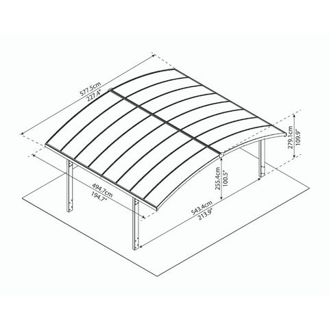 Palram 19'W x 16'L x 9'H Arizona Breeze Double Arch-Style Carport Kit - Bronze, 2mm Thick Solid Polycarbonate Roof Panels - HG9104