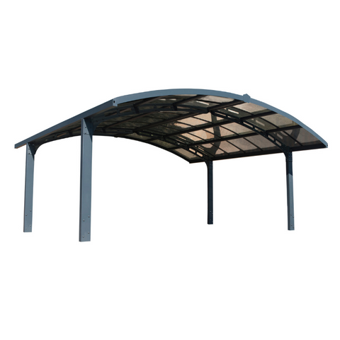 Image of Palram HG9104 19'W x 16'L x 9'H Arizona Breeze Double Arch-Style Carport Kit - Bronze, 2mm Thick Solid Polycarbonate Roof Panels