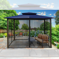 Paragon Outdoor Barcelona 10x12 Gazebo with Navy Top & Mosquito Netting