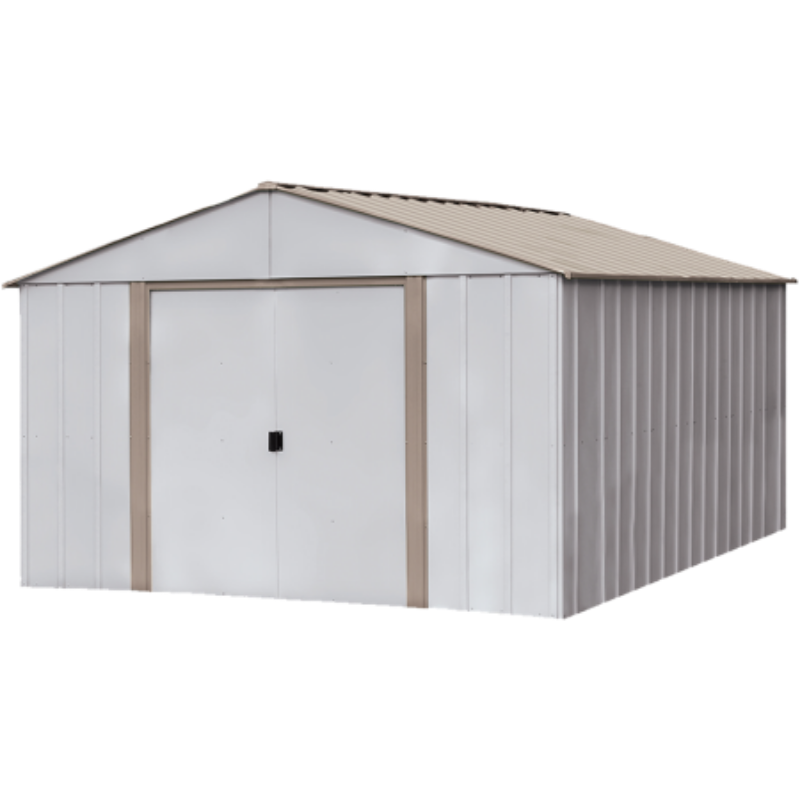 "Arrow OB1014-C1 Oakbrook, 10x14, Electro Galvanized Steel, Emery Grey / Eggshell, High Gable, 62"" Wall Height, Sliding Doors"
