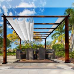 Paragon Outdoor Florence 11x11 Aluminum Pergola with Chilean Wood Grain Finish/White Color Convertible Canopy