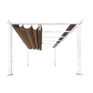 Paragon Outdoor Florence 11x11 White Aluminum Pergola/Cocoa Color Convertible Canopy