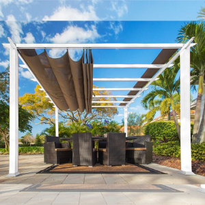 Image of Paragon Outdoor Florence 11x11 White Aluminum Pergola/Cocoa Color Convertible Canopy