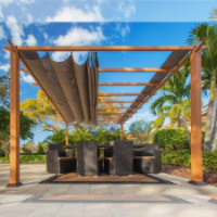 Image of Paragon Outdoor Florence 11x16 Aluminum Pergola with Cedar Wood Grain Finish/Sand Color Convertible Canopy