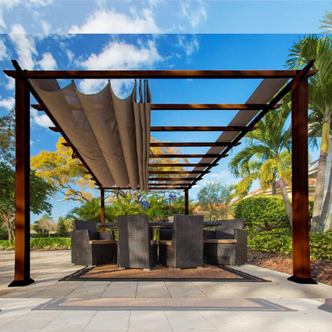 Image of Paragon Outdoor Florence 11x16 Aluminum Pergola with Chilean Wood Grain Finish/Cocoa Color Convertible Canopy