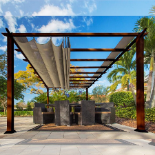 Paragon Outdoor Florence 11x16 Aluminum Pergola with Chilean Wood Grain Finish/Sand Color Convertible Canopy