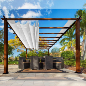 Paragon Outdoor Florence 11x16 Aluminum Pergola with Chilean Wood Grain Finish/White Color Convertible Canopy