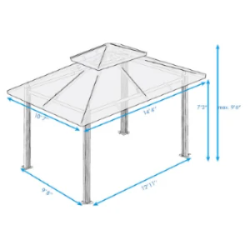 Image of Paragon Outdoor Kingsbury 11x14 Gazebo with Rust Top & Mosquito Netting