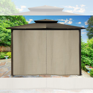 Image of Paragon Outdoor Barcelona 10x12 Gazebo with Grey Top, Mosquito Netting, Privacy Curtains