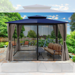 Image of Paragon Outdoor Barcelona 10x12 Gazebo with Navy Top, Mosquito Netting, Privacy Curtains