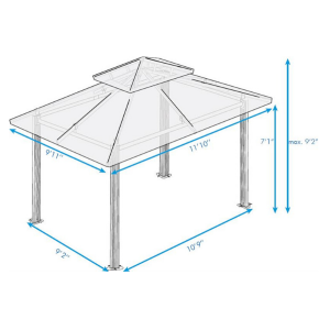 Paragon Outdoor Barcelona 10x12 Gazebo with Rust Top, Mosquito Netting, Privacy Curtains