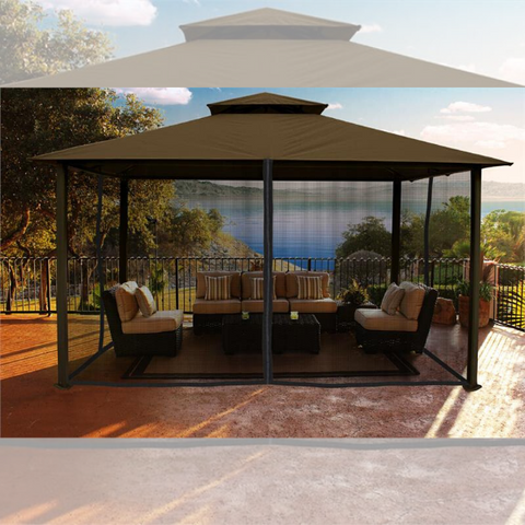 Image of Paragon Outdoor Kingsbury 11x14 Gazebo with Cocoa Sunbrella Top & Mosquito Netting