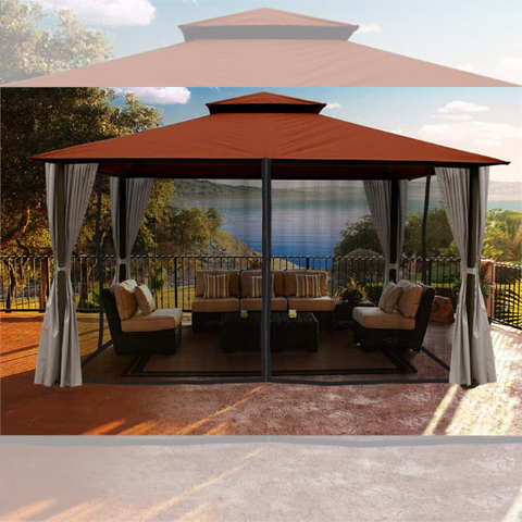 Image of Paragon Outdoor Kingsbury 11x14 Gazebo with Rust Sunbrella Top, Mosquito Netting, Privacy Curtains