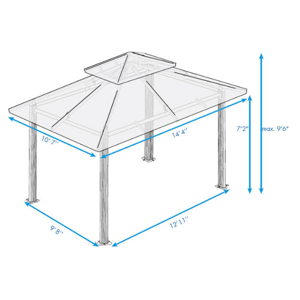 Paragon Outdoor Kingsbury 11x14 Gazebo with Cocoa Sunbrella Top & Mosquito Netting