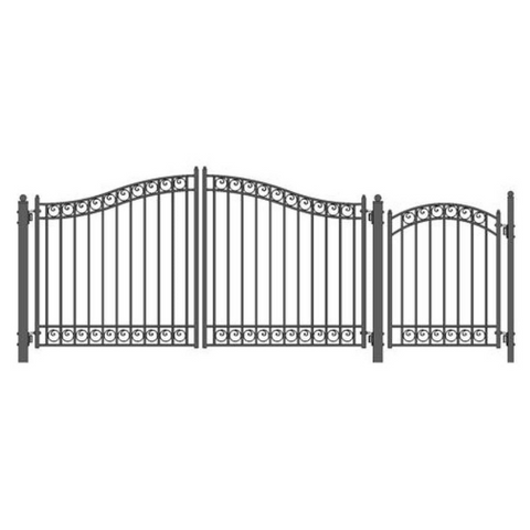 Aleko Steel Dual Swing Driveway Gate Dublin Style 12 ft with Pedestrian Gate 4 ft SET12X4DUBD-AP