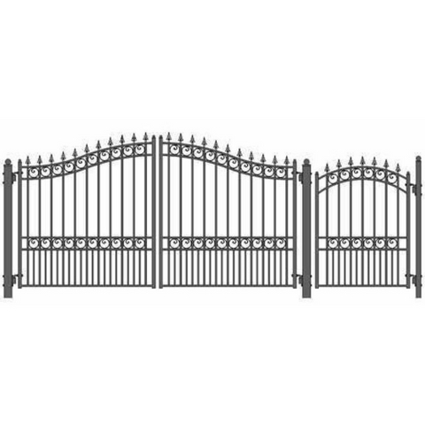 Aleko Steel Dual Swing Driveway Gate London Style 12 ft With Pedestrian Gate 4 ft SET12X4LOND-AP