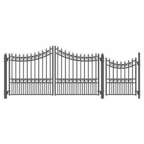 Aleko Steel Dual Swing Driveway Gate Moscow Style 12 ft with Pedestrian Gate 4 ft SET12X4MOSD-AP