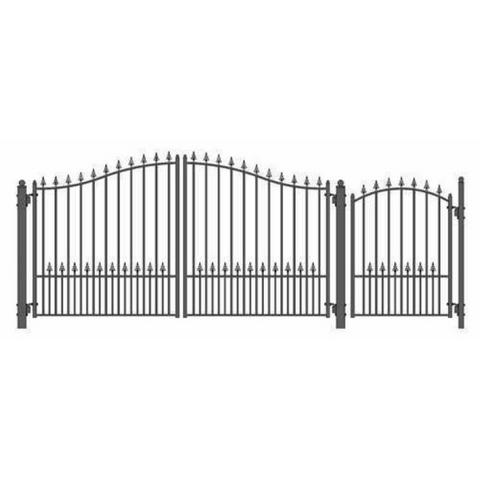 Aleko Steel Dual Swing Driveway Gate Munich Style 12 ft with Pedestrian Gate 4 ft SET12X4MUND-AP