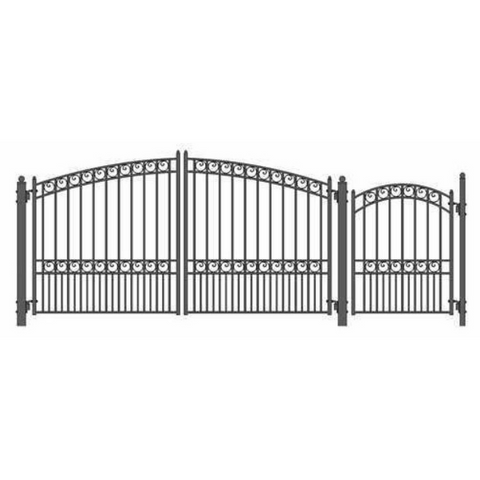 Aleko Steel Dual Swing Driveway Gate Paris Style 12 ft with Pedestrian Gate 4 ft SET12X4PARD-AP
