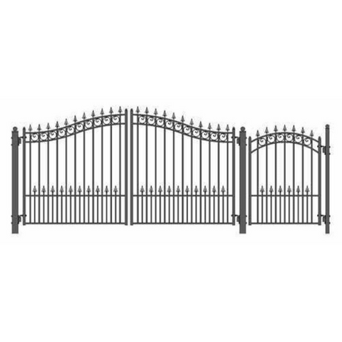 Aleko Steel Dual Swing Driveway Gate Prague Style 12 ft With Pedestrian Gate 4 ft SET12X4PRAD-AP