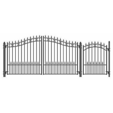 Aleko Steel Dual Swing Driveway Gate St.Petersburg Style 12 ft with Pedestrian Gate 4 ft SET12X4STPD-AP