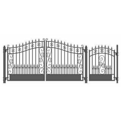 Aleko Steel Dual Swing Driveway Gate Venice Style 12 ft with Pedestrian Gate 4 ft SET12X4VEND-AP