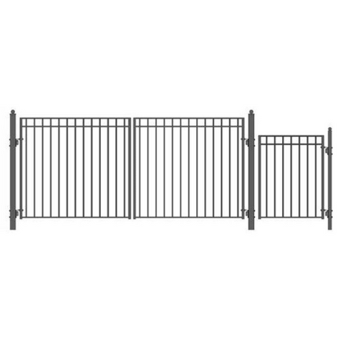 Aleko Steel Dual Swing Driveway Gate Madrid Style 14 ft With Pedestrian Gate 4 ft SET14X4MADD-AP