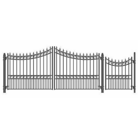 Aleko Steel Dual Swing Driveway Gate Moscow Style 14 ft With Pedestrian Gate 4 ft SET14X4MOSD-AP