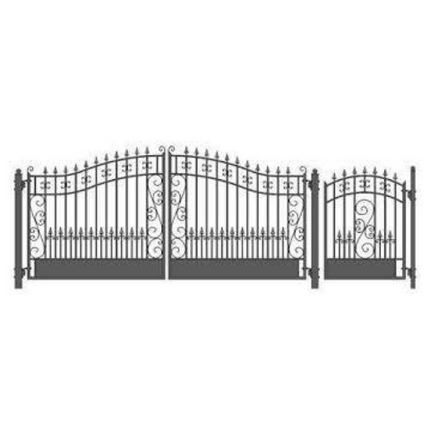 Aleko Steel Dual Swing Driveway Gate Venice Style 14 ft With Pedestrian Gate 4 ft SET14X4VEND-AP