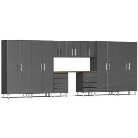 Ulti-MATE Garage 2.0 Series Grey 10-Piece Kit with Bamboo Worktop