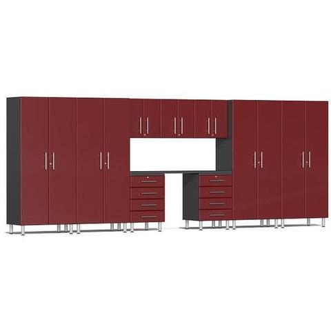 Ulti-MATE Garage 2.0 Series Red 10-Piece Kit with Bamboo Worktop