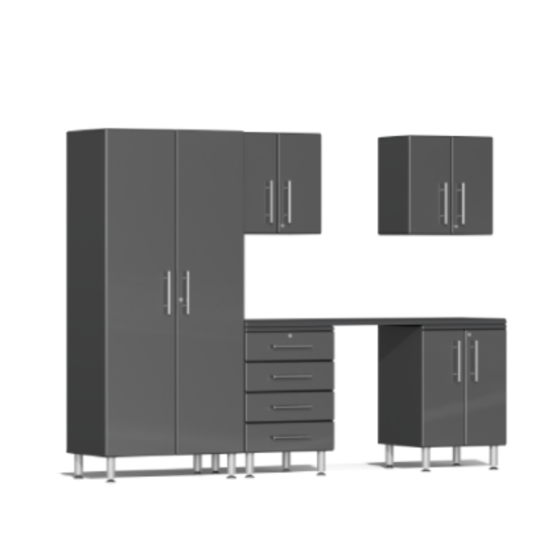 Ulti-MATE Garage 2.0 Series 6-Piece Kit Grey with Workstation